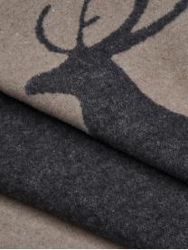Dwustronny pled z polaru Sylt Hirsch, 85% bawełna, 8% wiskoza, 7% poliakryl, Antracytowy, beżowy, S 140 x D 200 cm