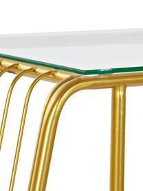 Tavolino in metallo con portariviste Diva, Struttura: metallo verniciato a polv, Piano d'appoggio: vetro, Piedini: metallo nero verniciato, Dorato, trasparente, nero, Larg. 47 x Alt. 61 cm