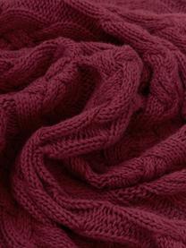Pled z dzianiny Caleb, 100% bawełna, Ciemny czerwony, S 130 x D 170 cm
