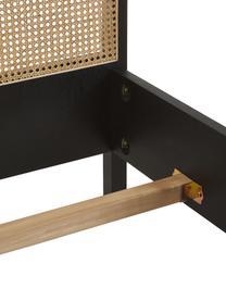 Holzbett Jones mit Wiener Geflecht, Gestell: Sperrholz mit Eschenholzf, Füße: Massives Eschenholz, Schwarz, 160 x 200 cm