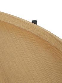 Großer Couchtisch Renee mit Ablagefach, Gestell: Metall, pulverbeschichtet, Eschenholz, Schwarz, Ø 90 x H 39 cm