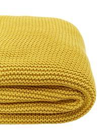 Strickdecke Adalyn aus Bio-Baumwolle in Senfgelb, 100% Bio-Baumwolle, GOTS-zertifiziert, Gelb, 150 x 200 cm
