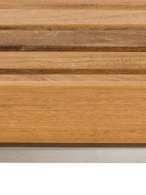 Outdoor bijzettafel Pizzo met teakhouten dienblad, Tafelblad: massief geolied teakhout, Frame: gepolijst edelstaal, Teakhoutkleurig, edelstaalkleurig, B 40 cm