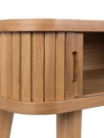 Konsola  z drewna z miejscem do przechowywania Barbier, Korpus: płyta pilśniowa średniej , Korpus: brązowy Drzwi przesuwane i nogi: drewno jesionowe, S 120 x G 35 cm