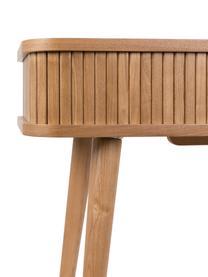 Houten bijzettafel Barbier met opbergruimte, Frame: MDF, essenhoutfineer, Frame: bruin<br>Schuifdeuren en poten: houtkleurig, 120 x 35 cm