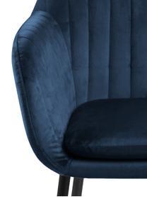 Chaise velours rembourré Emilia, Velours bleu foncé, pieds noir
