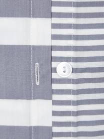Dwustronna pościel z organicznego perkalu z efektem sprania Kinsley, Niebieski, biały, 200 x 200 cm + 2 poduszki 80 x 80 cm