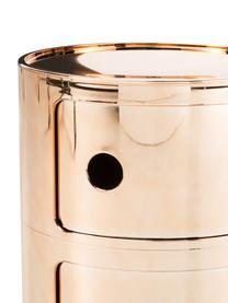 Comodino di design con cassetti Componibile, ABS metallizzato, Oro, Ø 32 x Alt. 40 cm