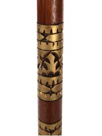 Runder Sonnenschirm Oriental Lounge in Beige, Ø 180 cm, Gestell: Fruchtholz mit Metallappl, Beige, Goldfarben, Dunkelbraun, Ø 180 x H 225 cm