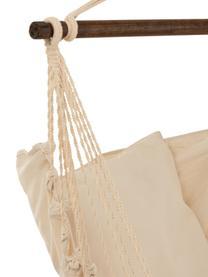 Hängesessel Quast mit Quasten in Creme/Ocker, Stange: Holz, Cremefarben, Ockergelb, 128 x 160 cm