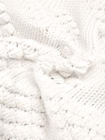 Federa arredo fatta a maglia Kelly, 100% cotone, Bianco crema, Larg. 40 x Lung. 40 cm