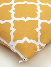 Kissenhülle Lana in Senfgelb mit grafischem Muster, 100% Baumwolle, Senfgelb, Weiß, 45 x 45 cm