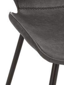 Kunstleder-Polsterstühle Louis, 2 Stück, Bezug: Kunstleder (65% Polyethyl, Beine: Metall, pulverbeschichtet, Grau, B 44 x T 58 cm