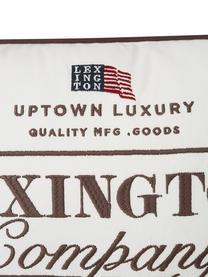 Kissenhülle Inga mit Keder und Schriftzug, Baumwolle, Recycelter Polyester, Weiß, Braun, 30 x 40 cm