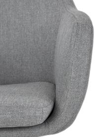 Sedia girevole imbottita con braccioli Nora, Rivestimento: poliestere, Struttura: metallo verniciato a polv, Tessuto grigio chiaro, gambe nero, Larg. 58 x Prof. 57 cm
