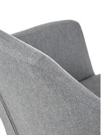 Chaise pivotante rembourré Nora, Tissu gris clair, pieds noir