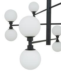 Grote hanglamp Grover met glazen bollen in zwart, Baldakijn: gepoedercoat metaal, Zwart, wit, Ø 70  x H 56 cm