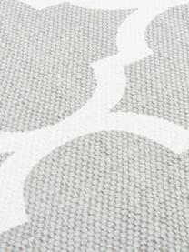 Tapis en coton fin tissé main gris Amira, Gris clair, blanc crème