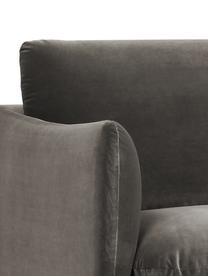 Samt-Sofa Moby (2-Sitzer) in Braungrau mit Metall-Füßen, Bezug: Samt (Hochwertiger Polyes, Gestell: Massives Kiefernholz, Füße: Metall, pulverbeschichtet, Samt Braungrau, B 170 x T 95 cm