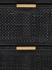 Szafka nocna z drewna Cayetana Shelfy, Korpus: płyta pilśniowa średniej , Nogi: drewno bambusowe, lakiero, Czarny, S 42 x W 71 cm