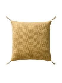 Gemusterte Kissenhüllen Fancy mit Quasten, 2er-Set, 100% Baumwolle, Gelb, gebrochenes Weiß, 45 x 45 cm