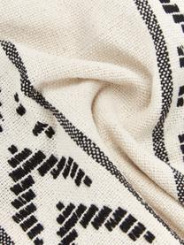 Housse de coussin rectangulaire ethnique beige Okiro, Beige, noir