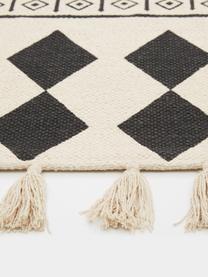 Handgewebter Baumwollläufer Edna im Ethno Style, 100% Baumwolle, Cremeweiss, Schwarz, 80 x 250 cm
