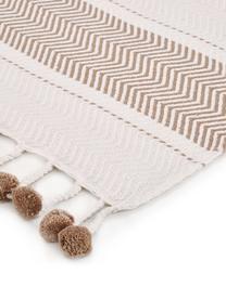 Plaid in cotone con motivo a righe Pom Pom, 100% cotone, Bianco latteo, taupe, Larg. 130 x Lung. 170 cm