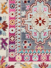 Läufer Vintage Kashan mit buntem Vintagemuster, Flor: 100% Polypropylen, Grau, Mehrfarbig, 60 x 185 cm