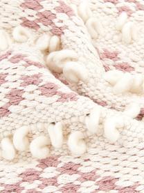 Boho Kissenhülle Paco mit dekorativer Verzierung, 80% Baumwolle, 20% Wolle, Weiß,Rosa, 45 x 45 cm