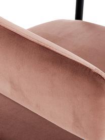 Samt-Armlehnstuhl Zoe, Bezug: Samt (Polyester) 50.000 S, Gestell: Metall, pulverbeschichtet, Samt Altrosa, B 56 x T 62 cm