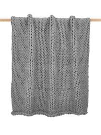 Handgemachte Grobstrick-Decke Adyna in Hellgrau, 100% Polyacryl, Hellgrau, 130 x 170 cm