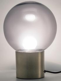 Mała lampa stołowa ze szkła Lark, Klosz: szary, transparentny Podstawa lampy: odcienie mosiądzu, matowy, Ø 17 x W 24 cm