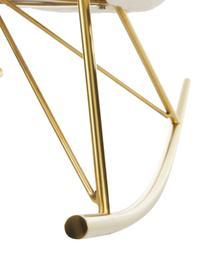 Teddy-Schaukelstuhl Wing mit Metall-Füßen in Cremeweiß, Bezug: Polyester (Teddyfell) Der, Gestell: Metall, galvanisiert, Webstoff Cremeweiß, B 66 x T 102 cm
