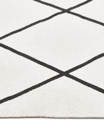 Vlak geweven katoenen vloerkleed Farah met ruitjesmotief, 100% katoen, Crèmewit, zwart, B 70 x L 140 cm (maat XS)