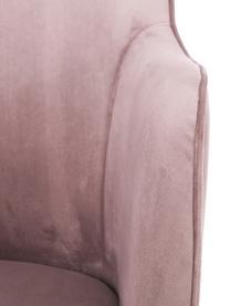Samt-Armlehnstuhl Ava mit goldfarbenen Beinen, Bezug: Samt (Polyester) 50.000 S, Beine: Metall, galvanisiert, Samt Mauve, Beine Gold, B 57 x T 63 cm