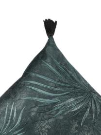 Cuscino con motivo a foglie e nappe Jangala, Retro: cotone, Tonalità blu, Larg. 50 x Lung. 50 cm
