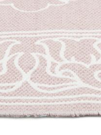 Tapis bohème rose et blanc tissé main Salima, Rose, blanc crème