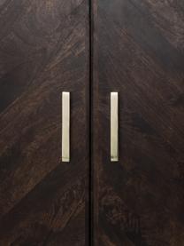 Sideboard Leif mit Türen aus massiven Mangoholz, Korpus: Mangoholz, massiv, lackie, Griffe: Metall, galvanisiert, Füße: Metall, pulverbeschichtet, Korpus: Mangoholz in dunklem FinishFüße: SchwarzGriffe: Metall, 177 x 75 cm