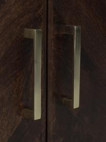 Sideboard Leif mit Türen aus massiven Mangoholz, Korpus: Mangoholz, massiv, lackie, Griffe: Metall, galvanisiert, Füße: Metall, pulverbeschichtet, Korpus: Mangoholz in dunklem Finish Füße: Schwarz Griffe: Metall, 177 x 75 cm