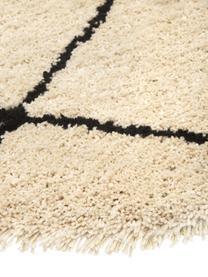 Tappeto rotondo a pelo lungo taftato a mano Naima, Retro: 100% cotone, Beige, nero, Ø 140 cm (taglia M)
