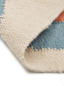 Großes Wandobjekt Rainbow, 80% Wolle, 20% Baumwolle, Beige, Blau, Orange, Rosa, Creme, Altrosa, 100 x 115 cm