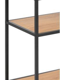 Stolik pomocniczy z drewna i metalu Seaford, Stelaż: metal malowany proszkowo, Dzikie drewno dębowe, czarny, S 42 x G 35 cm