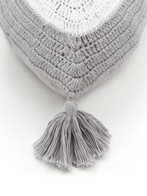 Handgemachtes Kissen Ajala mit Augenmotiv, Bezug: 100% Baumwolle, GOTS-zert, Grau,Weiß, 30 x 45 cm