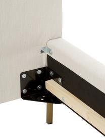 Beige gestoffeerd bed Peace met hoofdeinde, Frame: massief grenenhout en pla, Bekleding: polyester (gestructureerd, Poten: gepoedercoat metaal, Geweven stof beige, 200 x 200 cm