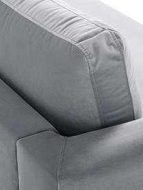 Samt-Sofa Luna (3-Sitzer) in Hellgrau mit Metall-Füßen, Bezug: Samt (Polyester) Der hoch, Gestell: Massives Buchenholz, Füße: Metall, galvanisiert, Samt Hellgrau, Gold, B 230 x T 95 cm