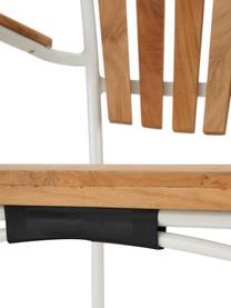 Tuinstoel Hard & Ellen, Frame: gepoedercoat aluminium, Wit, teakhoutkleurig, 56 x 78 cm