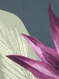 Pościel z satyny bawełnianej Flora, Przód: wielobarwny Tył: ciemny szary, 135 x 200 cm