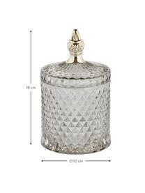 Aufbewahrungsdose Miya, Glas, Grau, transparent, Goldfarben, Ø 10 x H 18 cm