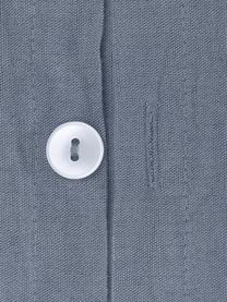 Gewaschene Leinen-Bettwäsche Nature in Blau, Halbleinen (52% Leinen, 48% Baumwolle)  Fadendichte 108 TC, Standard Qualität  Halbleinen hat von Natur aus einen kernigen Griff und einen natürlichen Knitterlook, der durch den Stonewash-Effekt verstärkt wird. Es absorbiert bis zu 35% Luftfeuchtigkeit, trocknet sehr schnell und wirkt in Sommernächten angenehm kühlend. Die hohe Reißfestigkeit macht Halbleinen scheuerfest und strapazierfähig., Blau, 240 x 220 cm + 2 Kissen 80 x 80 cm